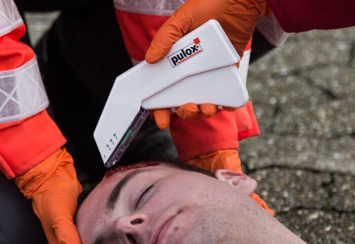 Sanitarios brecha en la cabeza grapadora piel Pulox