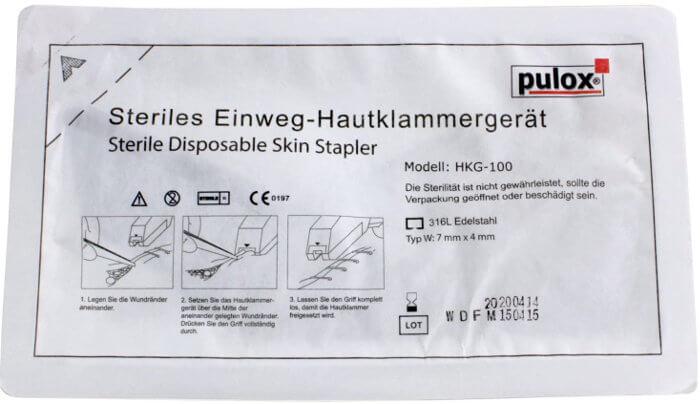 Grapadora de piel estéril Pulox de un único uso