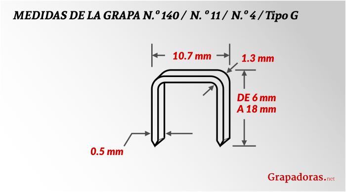 Tamaño de las grapas 140/11/4 tipo G