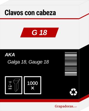 Caja de clavos calibre 18