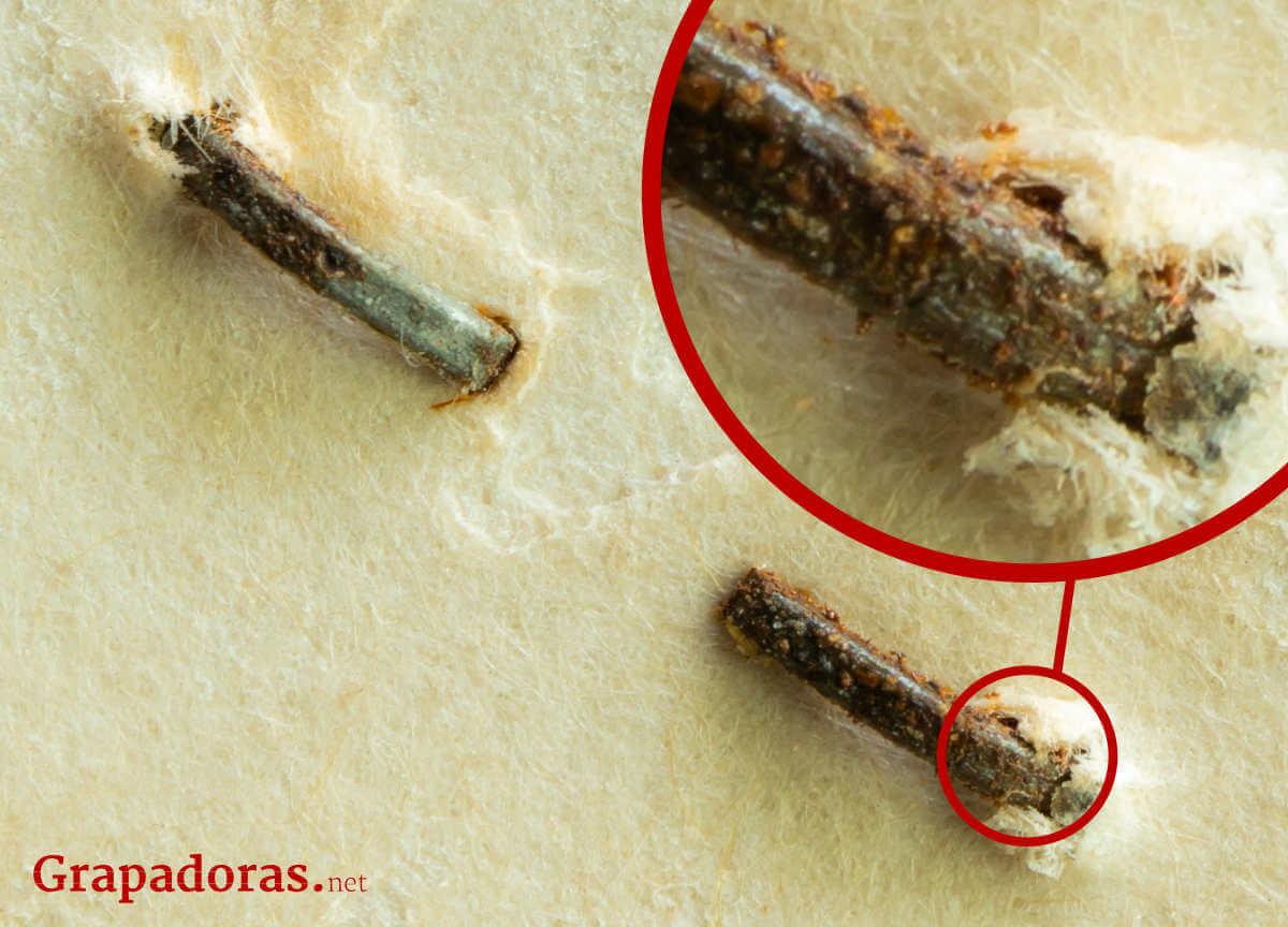 Degradación en documento causad por grapa oxidada