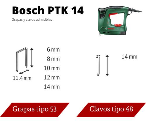 Grapas y clavos para Bosch PTK 14